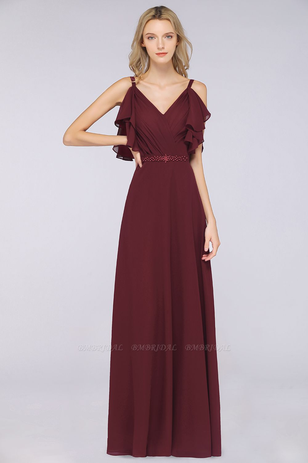 Modest Cold-shoulder Crinkle Chiffon Long Bridesmaid Dress with Pearls