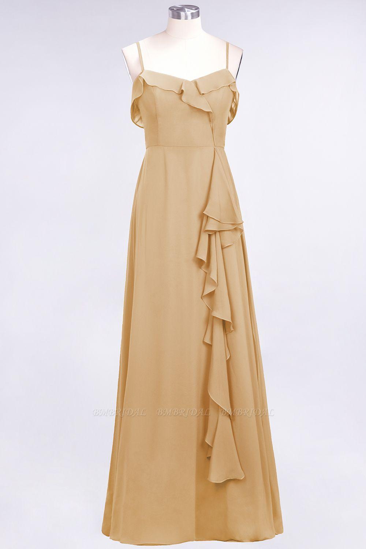 Elegant Spaghetti Straps Ruffle Burgundy Chiffon Dresses Cheap