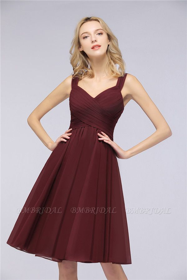 Elegant Ruffle Straps Short Burgundy Bridesmaid Dresses Online
