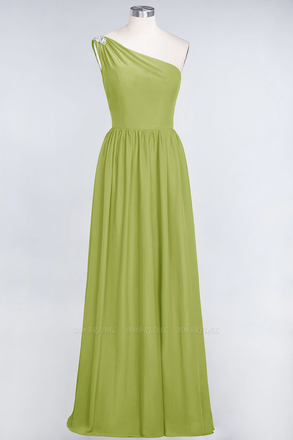 Affordable Chiffon One-Shoulder Ruffle Bridesmaid Dress with Beadings