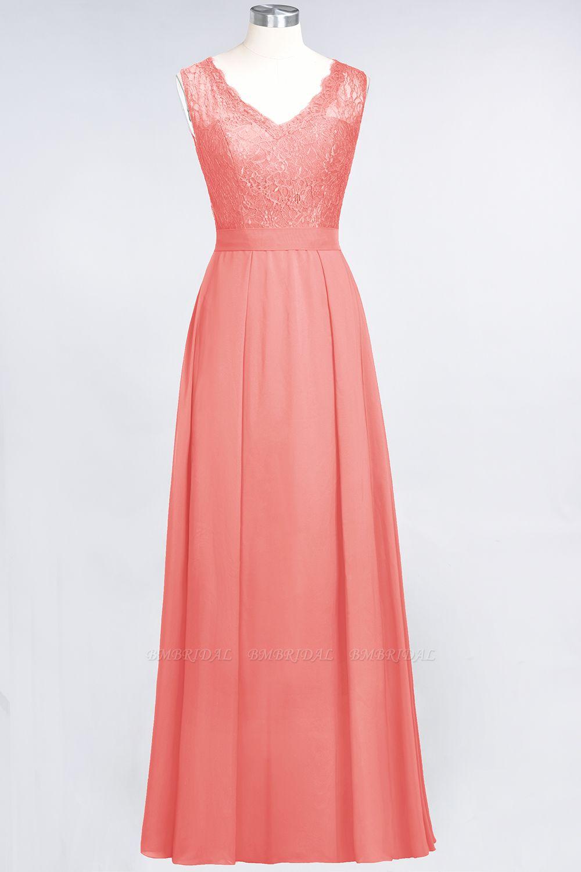 Modest Chiffon V-Neck Burgundy Lace Bridesmaid Dresses Online