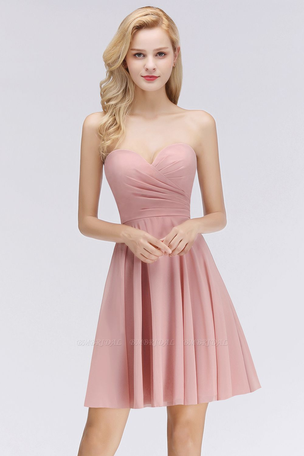 Lovely Sweetheart ruffle Pink Chiffon Short Bridesmaid Dresses Affordable