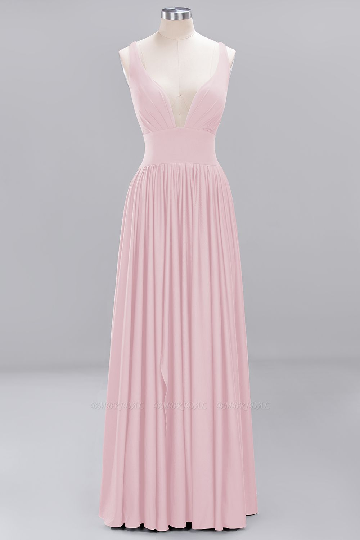 Sexy Deep V-Neck Sleeveless Bridesmaid Dress Burgundy Chiffon Wedding Party Dress