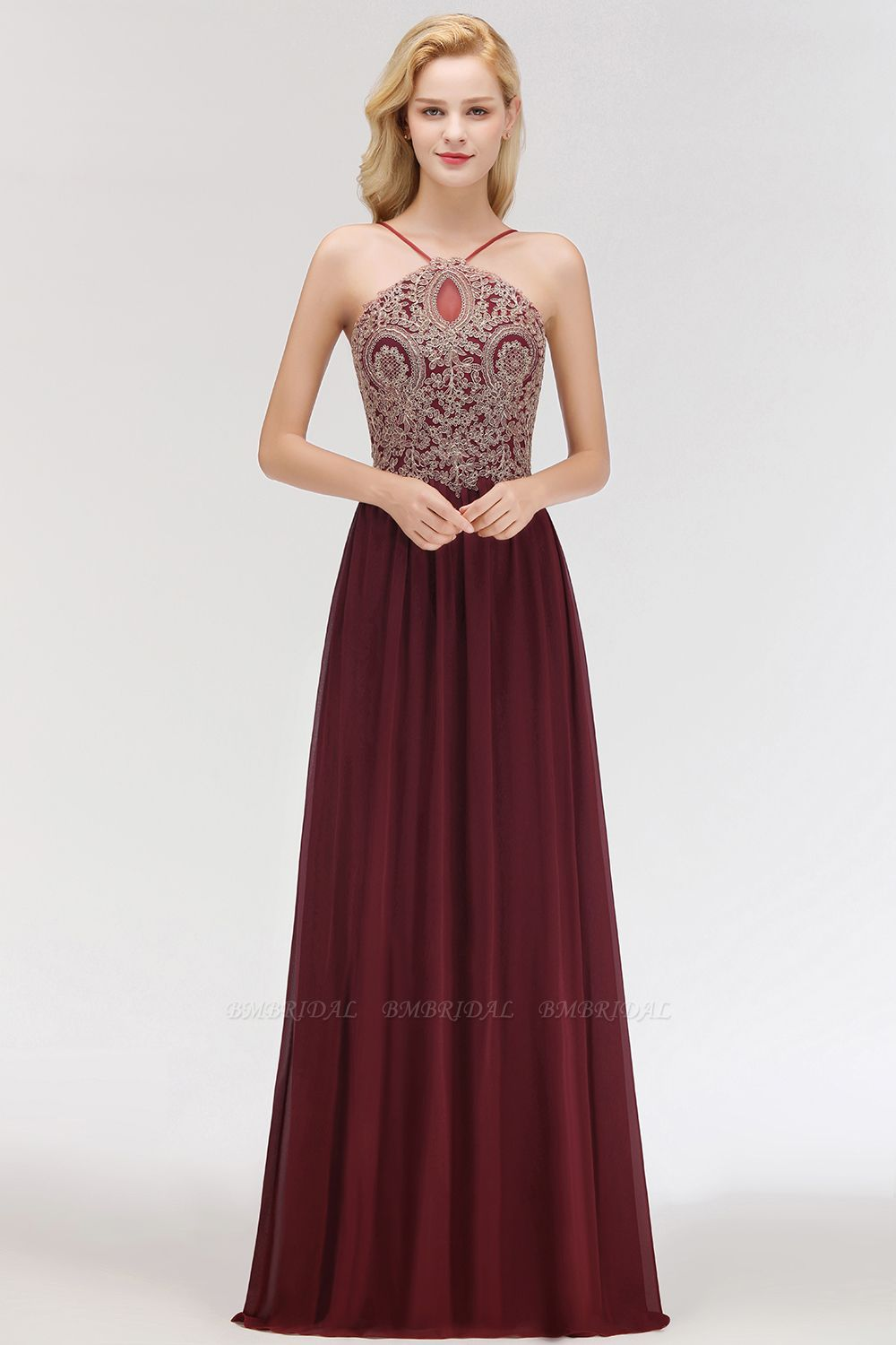 BMbridal Chic Spaghetti Straps Long Burgundy Backless Bridesmaid Dress with Appliques