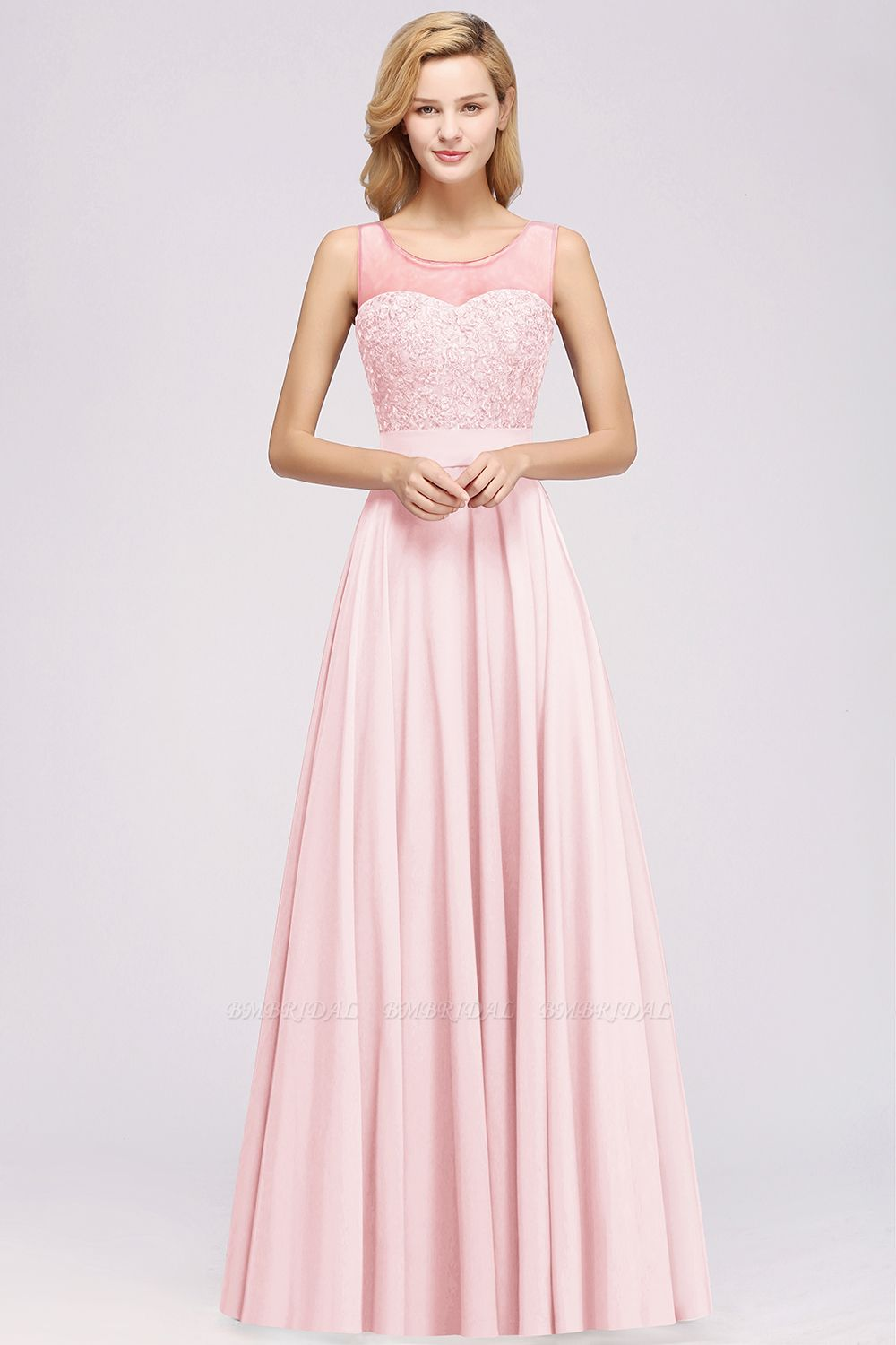 Gorgeous Lace Jewel Affordable Pink Bridesmaid Dress with Beadings