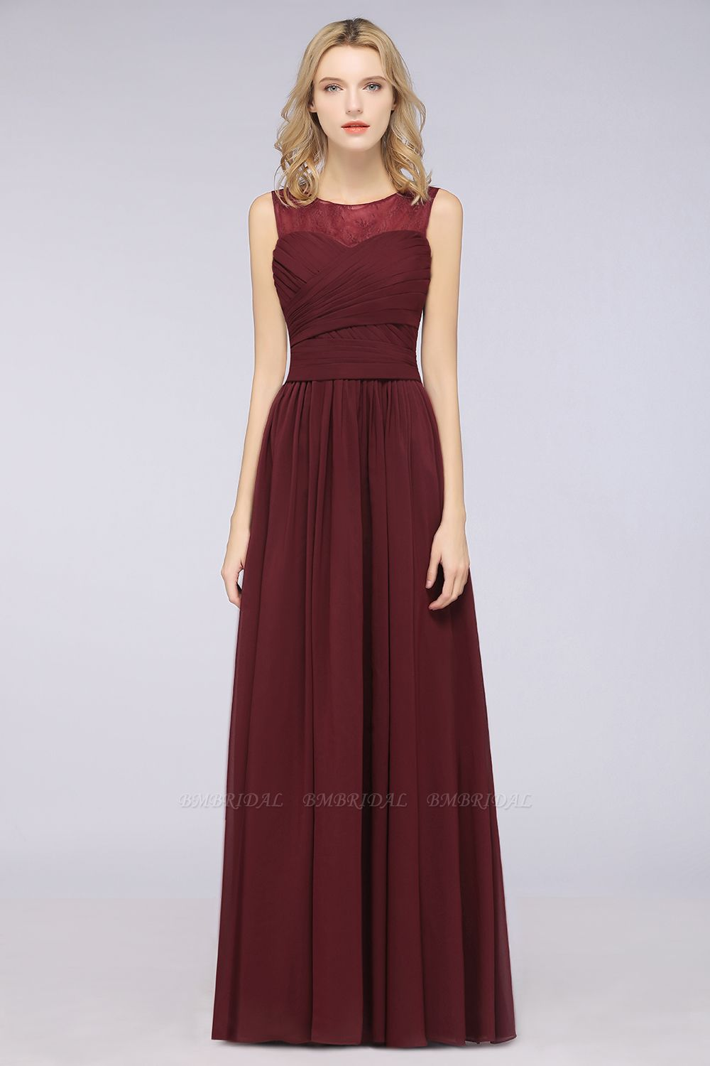 Modest Chiffon Lace Scoop Ruffle Burgundy Bridesmaid Dresses Affordable
