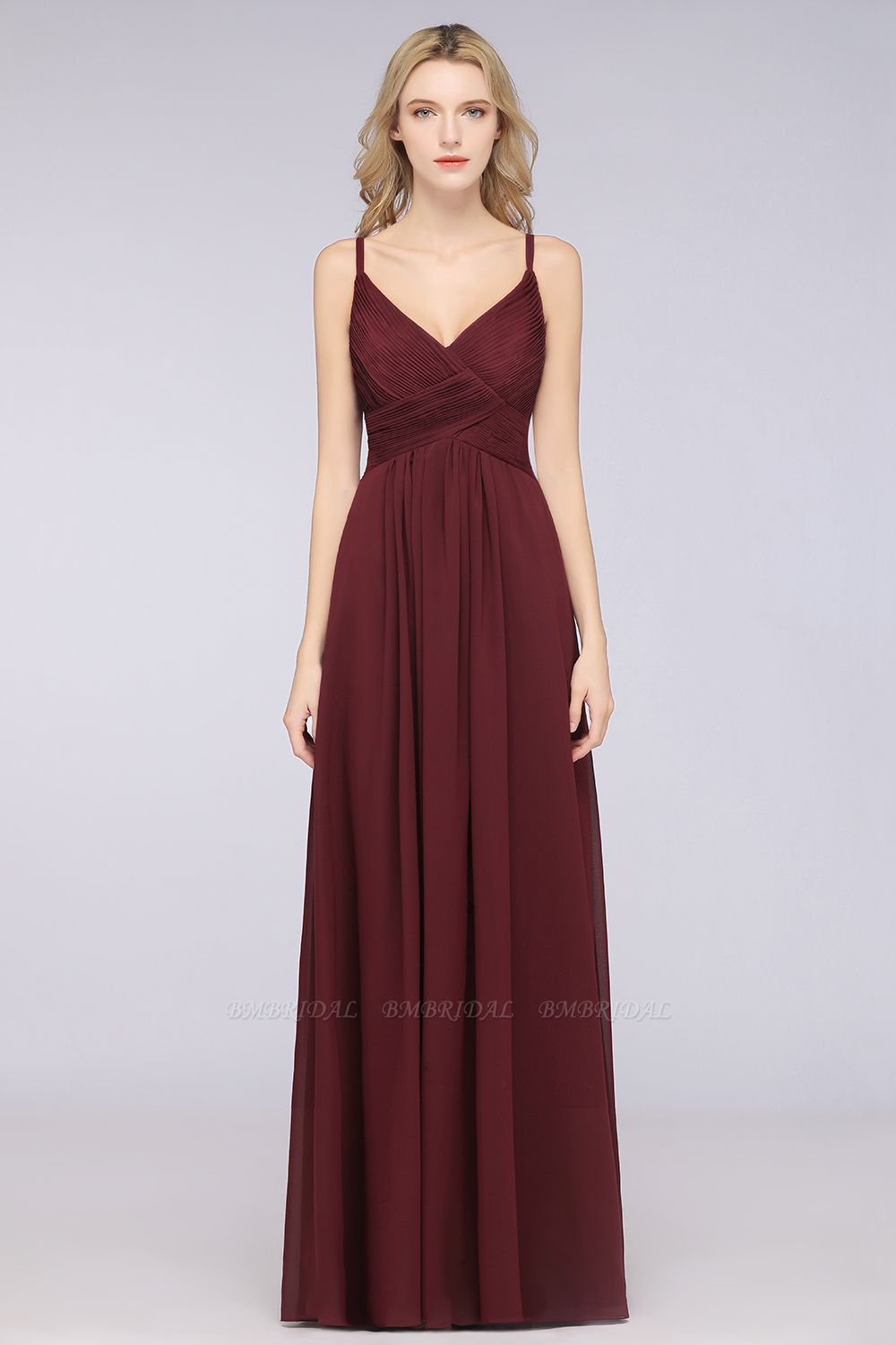 Affordable Chiffon Ruffle V-Neck Bridesmaid Dress with Spaghetti Straps