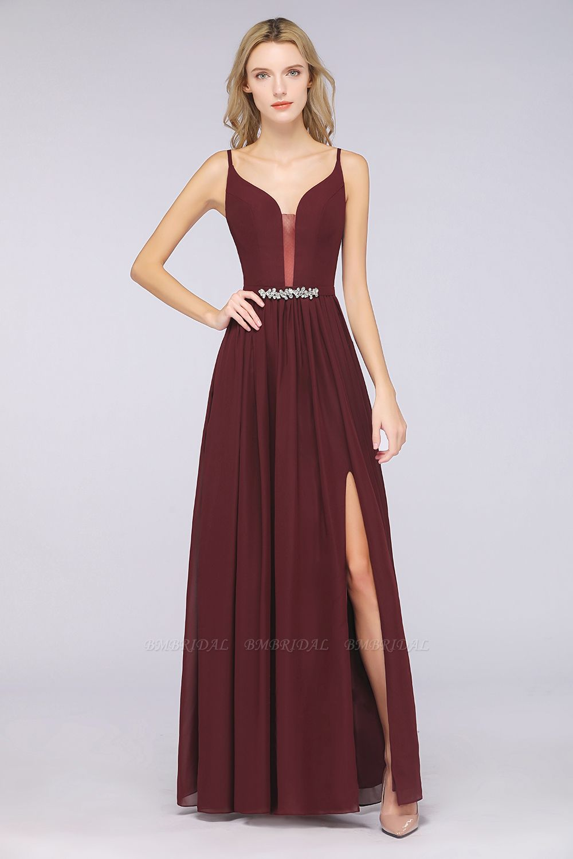 BMbridal Sexy Deep-V-Neck Appliques Burgundy Chiffon Bridesmaid Dress with Slit