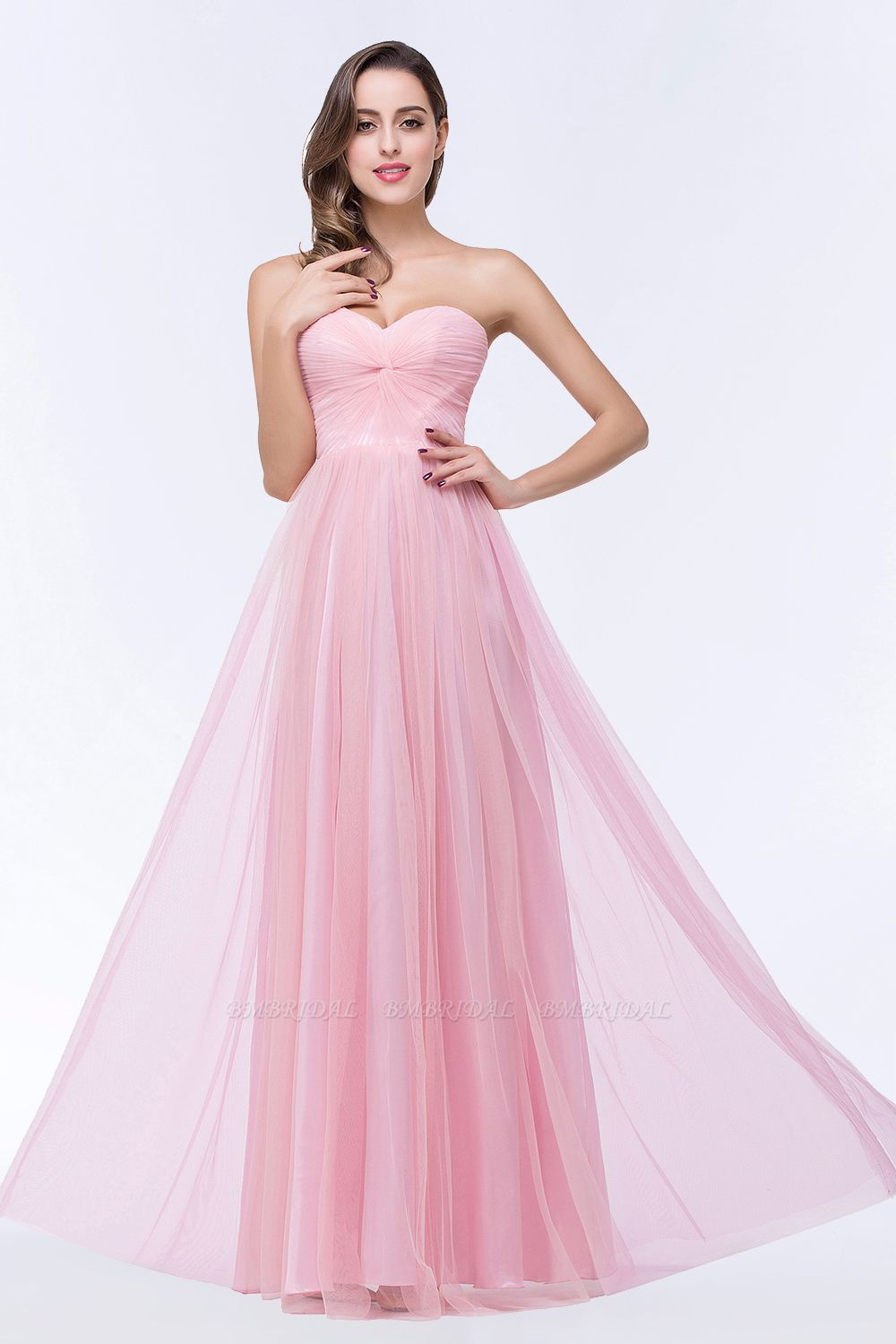 BMbridal Chic Tulle Ruffle Strapless Sweetheart Floor-Length Bridesmaid Dresses