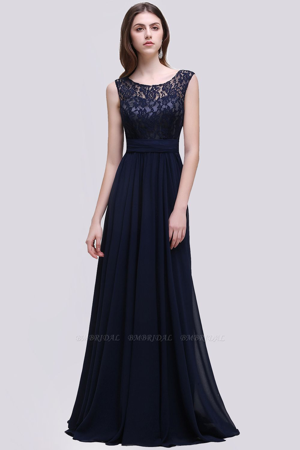 Vintage Lace Scoop Sleeveless Dark Blue Bridesmaid Dress with V-Back