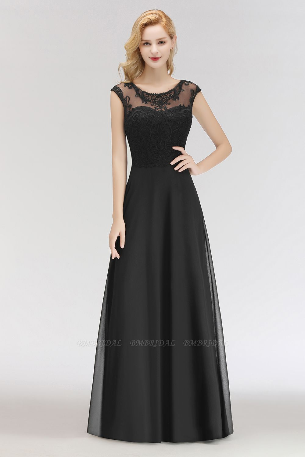 BMbridal Elegant Chiffon Long Lace Black Bridesmaid Dresses Online