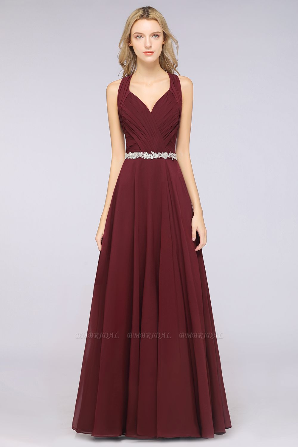 Elegant Chiffon Halter V-Neck Ruffle Bridesmaid Dress with Appliques Sashes