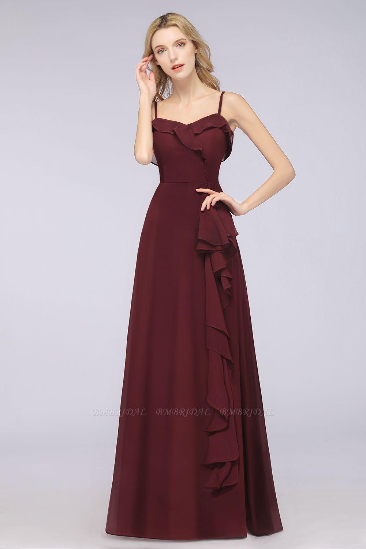 Elegant Spaghetti Straps Ruffle Burgundy Chiffon Dresses Affordable