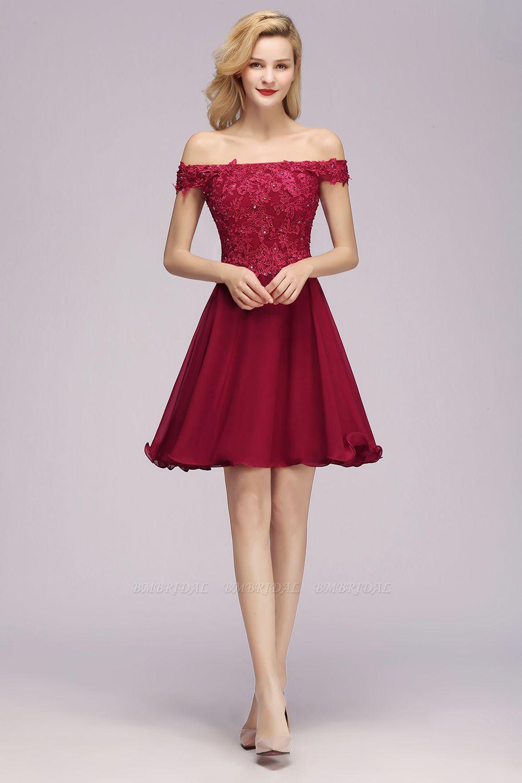 Gorgeous Lace Off-the-shoulder Short Burgundy Bridesmaid Dresses Online