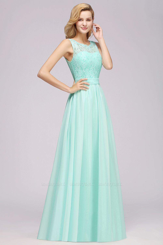 Elegant Chiffon Lace Scalloped Sleeveless Ruffle Bridesmaid Dresses