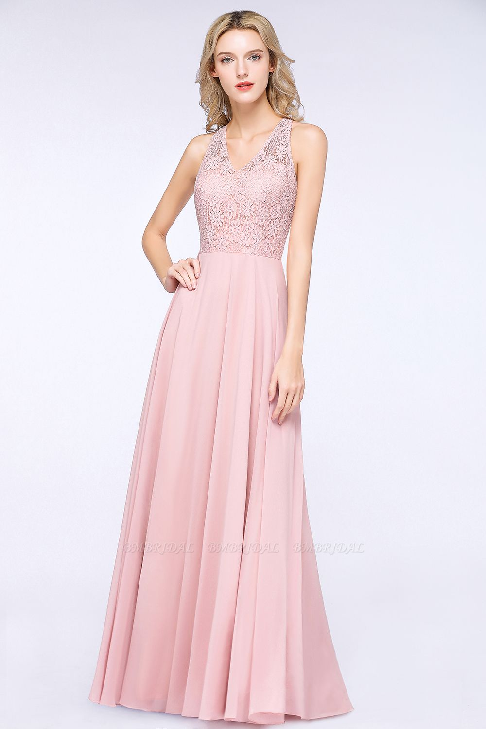 Modest V-Neck Sleeveless Pink Affordable Bridesmaid Dresses Lace