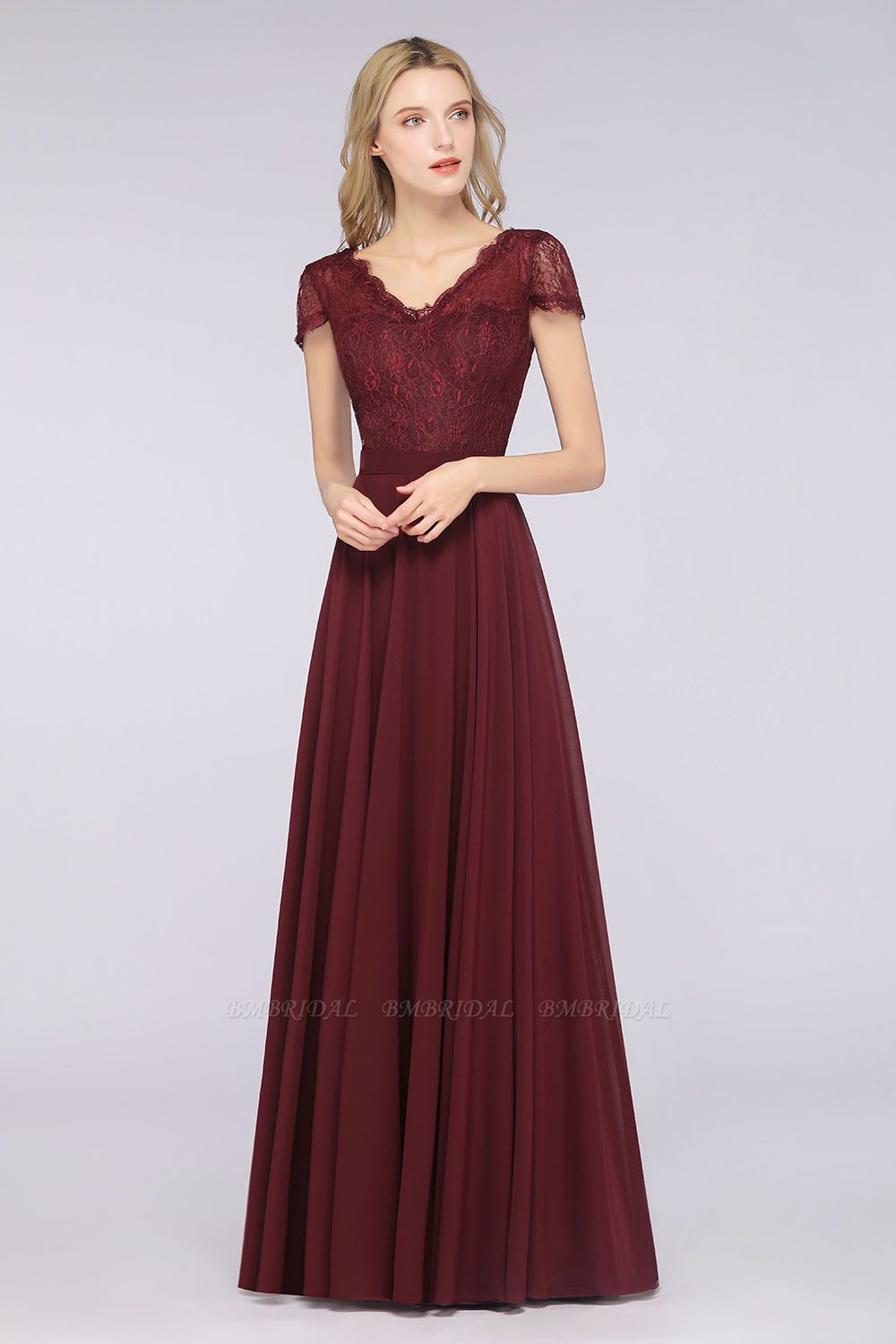 Elegant Lace V-Neck Burgundy Bridesmaid Dress with Cap Sleeves