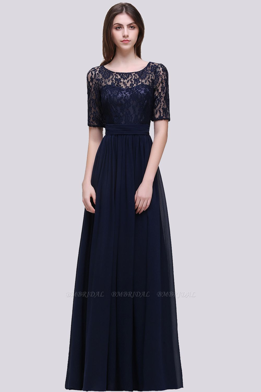 Affordable Lace Scoop Dark Navy Bridesmaid Dresses with Half-Sleeves