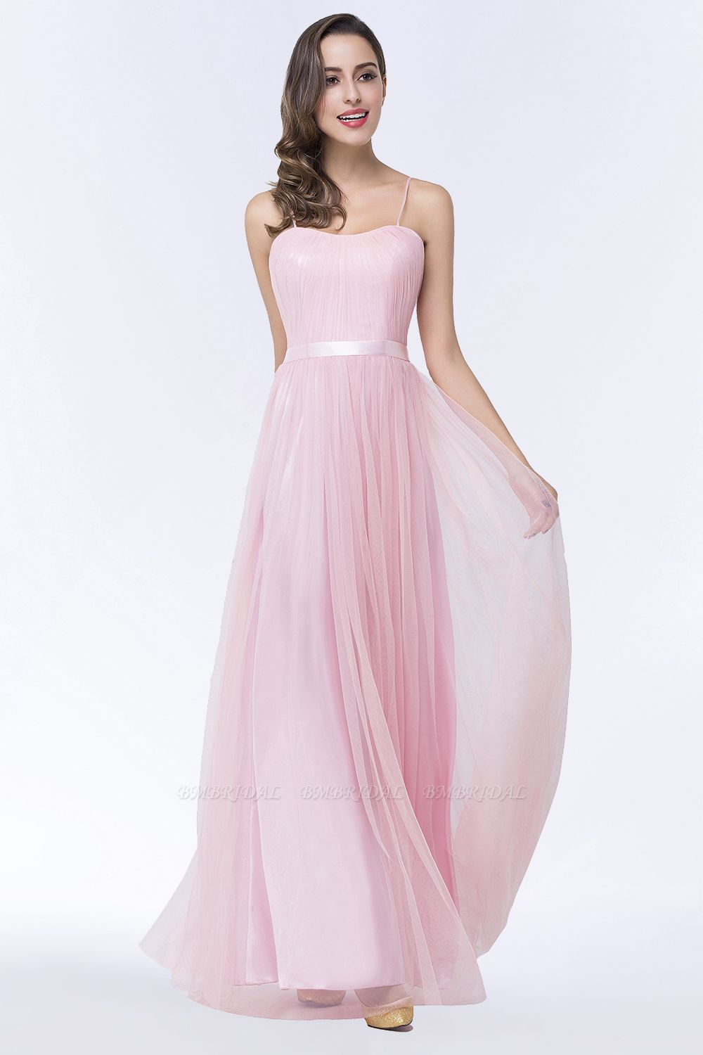 Modest Spaghetti-Straps Sweetheart Long Bridesmaid Dress with Sash