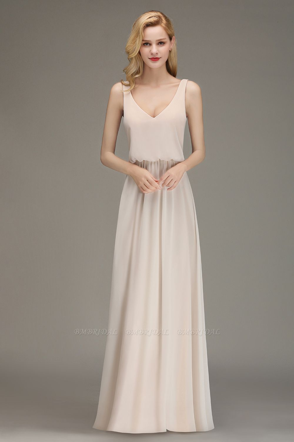 Elegant Straps V-Neck Long Affordable Bridesmaid Dresses with Ruffle