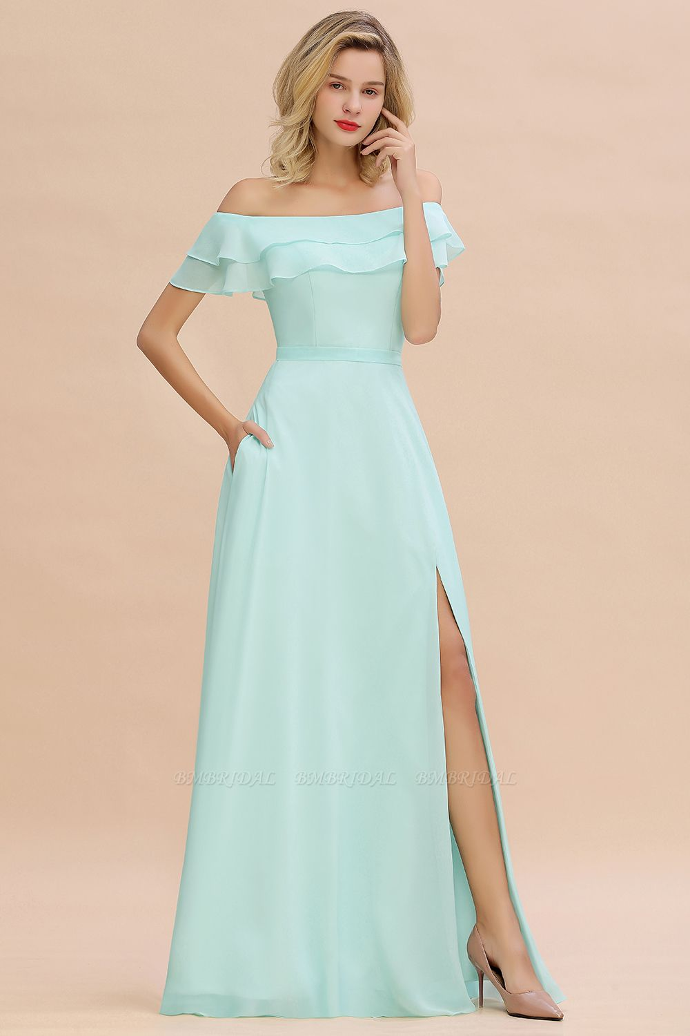 Exquisite Off-the-shoulder Slit Mint Green Bridesmaid Dress With Pockets