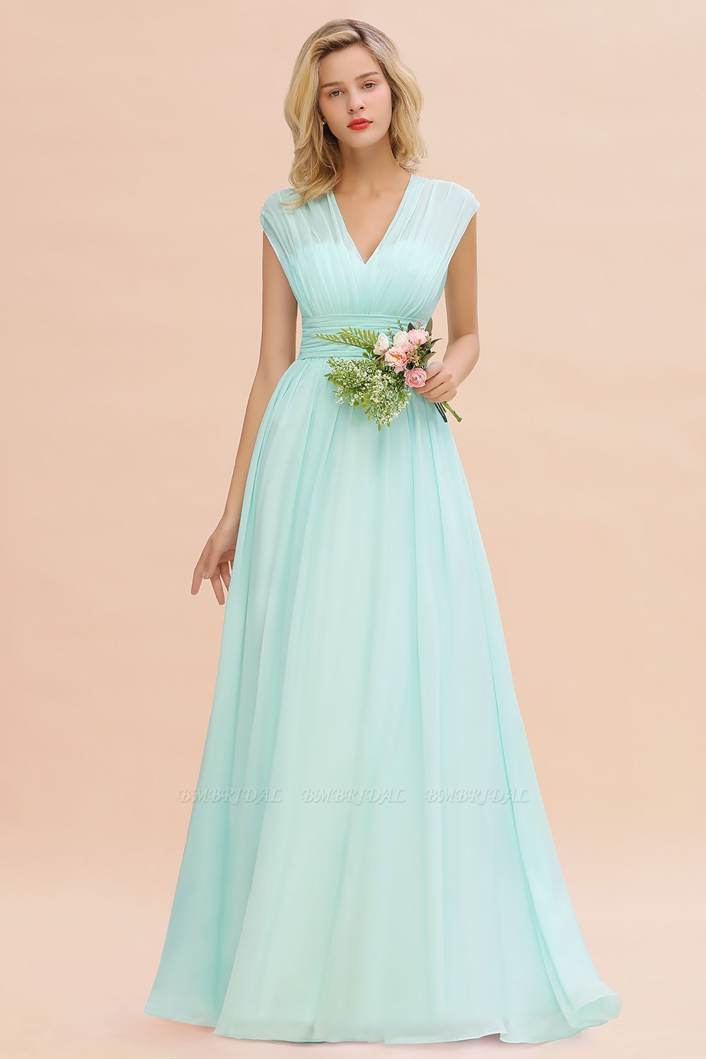 Elegant Chiffon V-Neck Ruffle Long Bridesmaid Dresses Affordable
