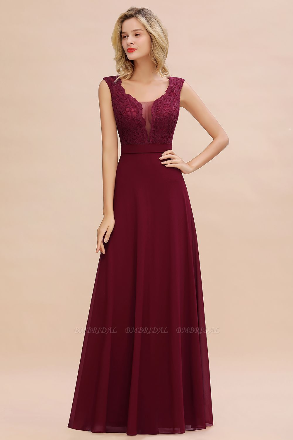 BMbridal Elegant Lace Deep V-Neck Burgundy Bridesmaid Dress Affordable
