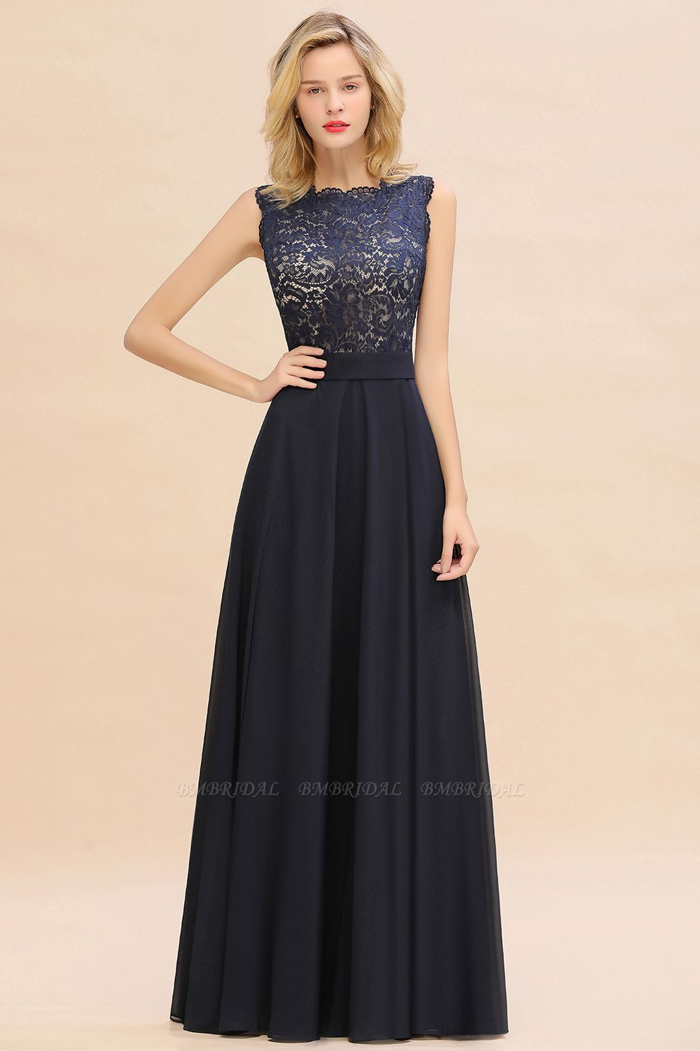 Exquisite Scoop Chiffon Lace Bridesmaid Dresses with V-Back
