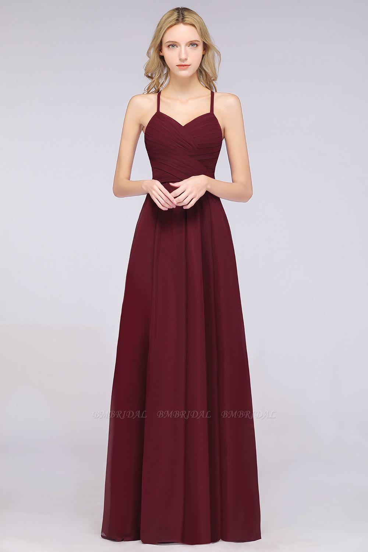 Affordable Spaghetti Straps V-Neck Burgundy Chiffon Bridesmaid Dress with Keyhole Back