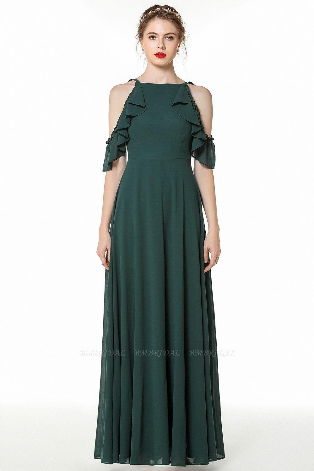 Chic Cold-shoulder Ruffle Dark Green Chiffon Bridesmaid Dresses Online