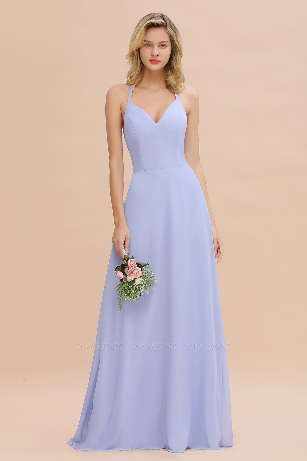 Modest Halter V-Neck Sleeveless Long Bridesmaid Dresses Online