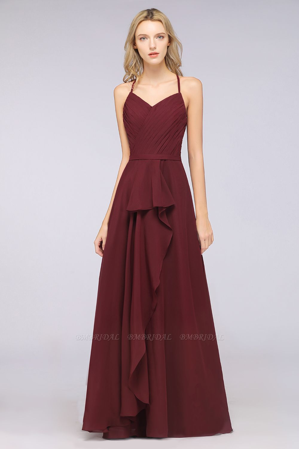 Affordable Chiffon Halter V-Neck Ruffle Burgundy Bridesmaid Dresses