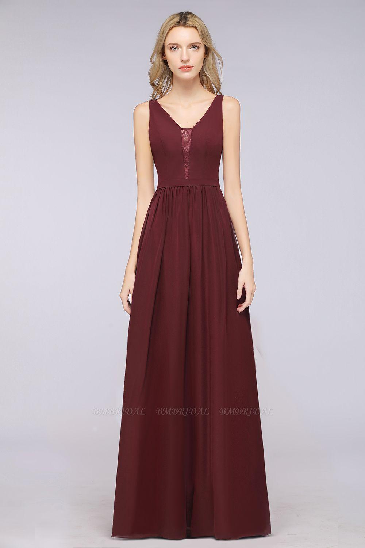 BMbridal Chic Ruffles Straps Chiffon Lace Burgundy Bridsmaid Dress Online