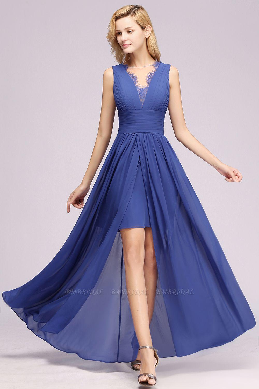 Elegant Chiffon Lace Jewel Sleeveless Bridesmaid Dress with Ruffle