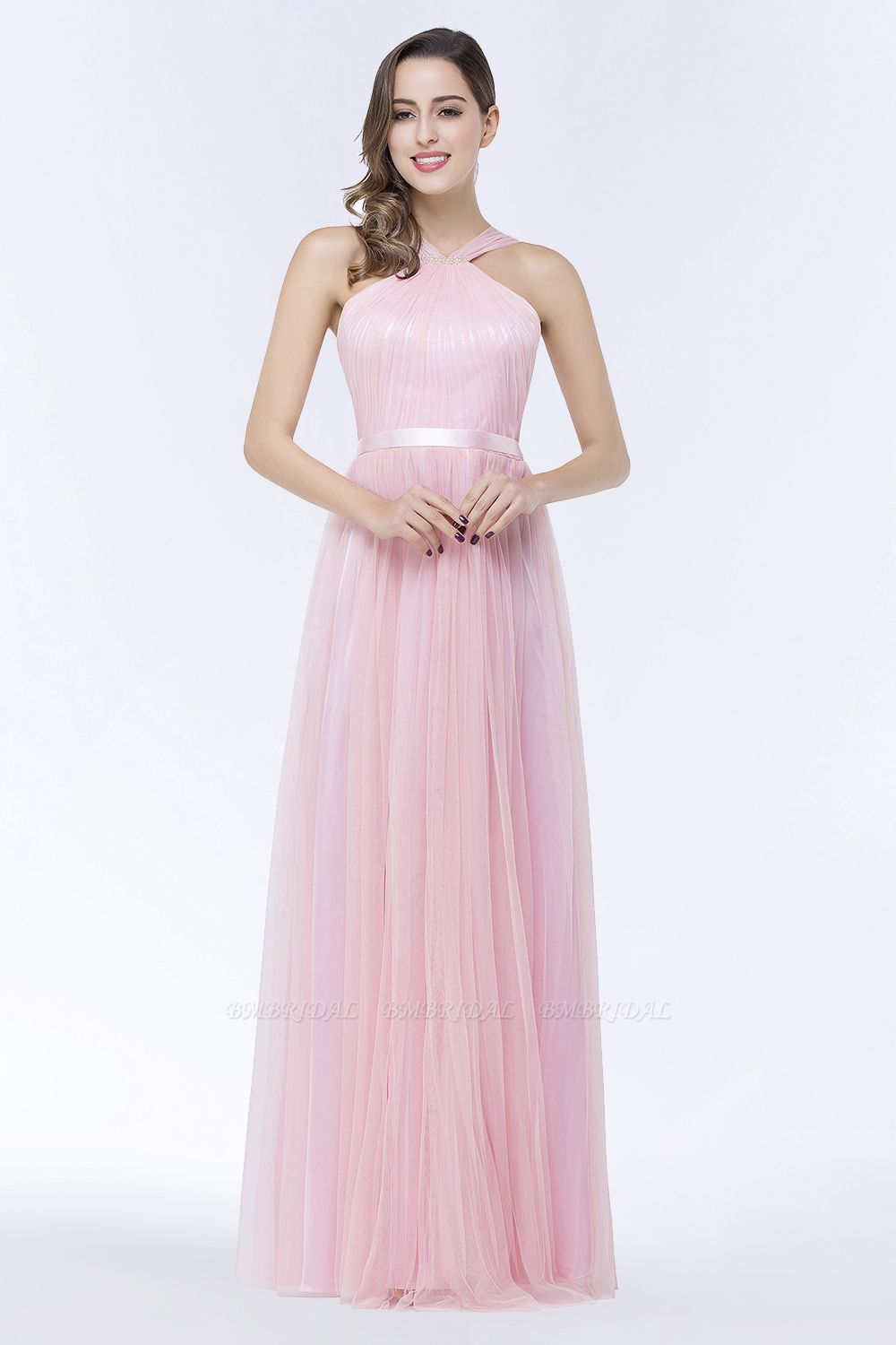BMbridal Chic Tulle Ruffle Halter Sleeveless Pearls Bridesmaid Dress with Sash