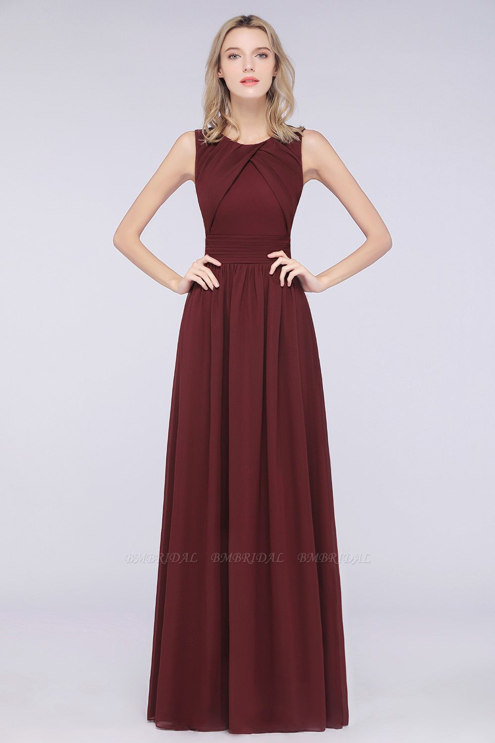 BMbridal Modest Round-Neck Sleeveless Burgundy Bridesmaid Dresses with Ruffles