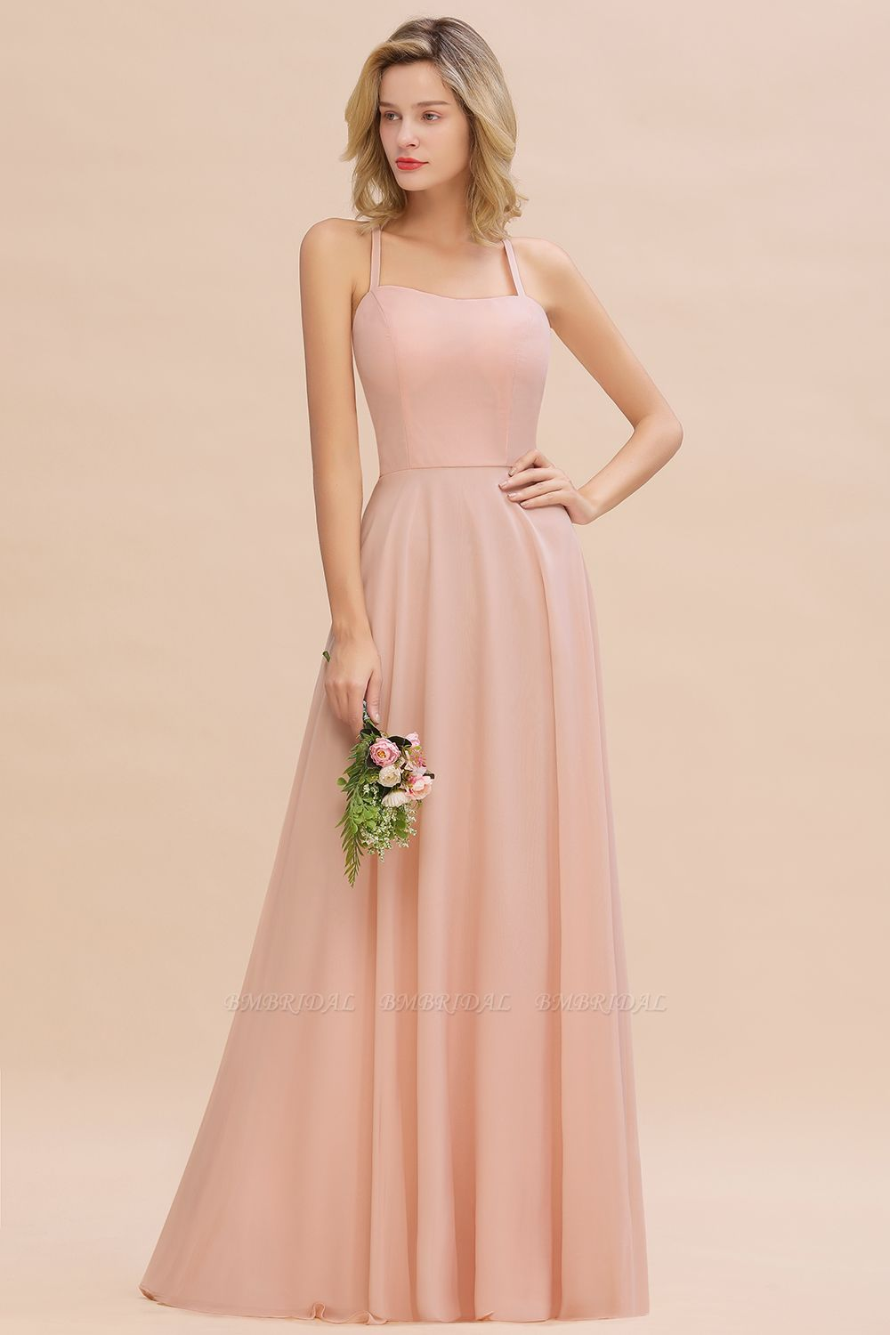 BMbridal Chic Straps Sleeveless Chiffon Affordable Bridesmaid Dresses with Ruffle