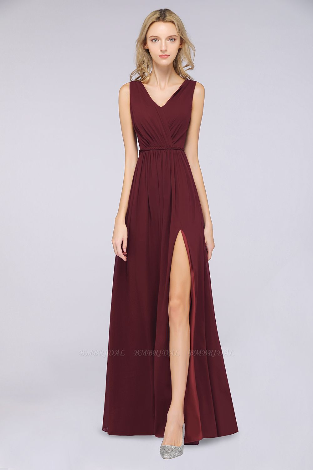 Glamorous TulleV-Neck Ruffle Burgundy Bridesmaid Dress Online