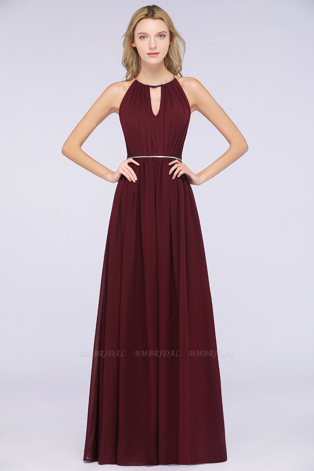 Chic Burgundy Halter Long Backless Bridesmaid Dress with Beadings
