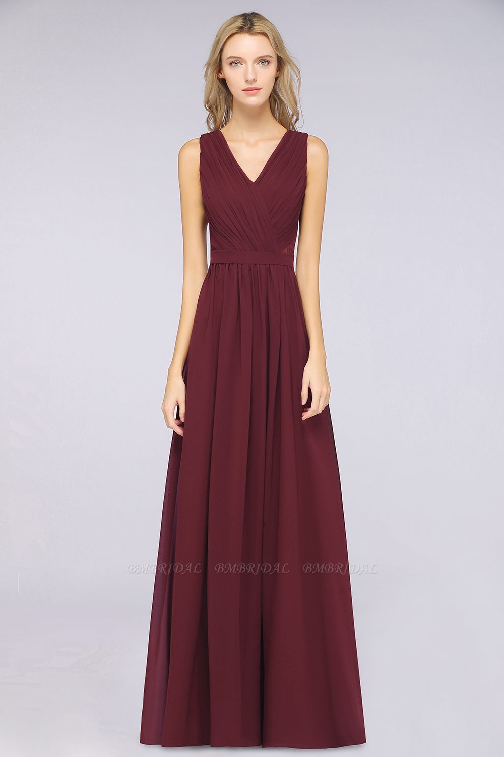 Affordable Burgundy V-Neck Ruffle Bridesmaid Dresses with Lace-Back