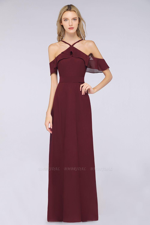 Affordable Spaghetti Straps Burgundy Long Bridesmaid Dress With Bow Sash