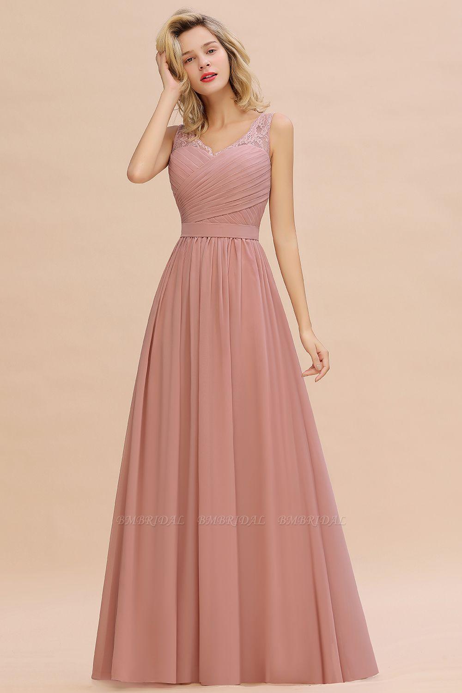 BMbridal A-line Chiffon Lace V-Neck Ruffles Bridesmaid Dress
