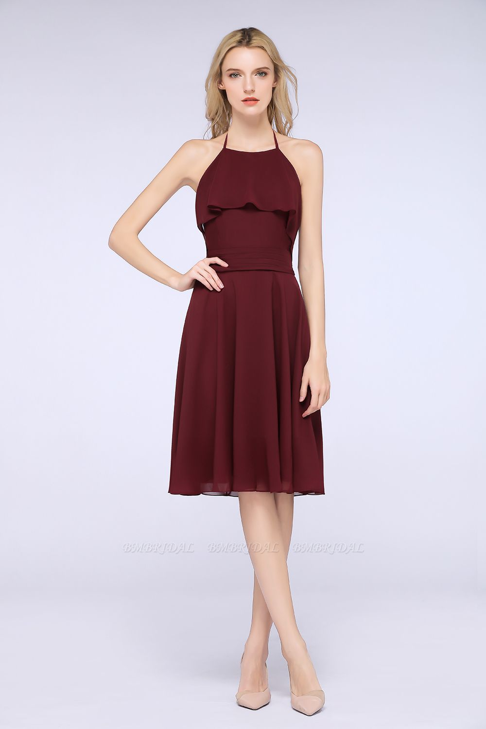 Gorgeous Halter Sleeveless Chiffon Short Bridesmaid Dress with Ruffle