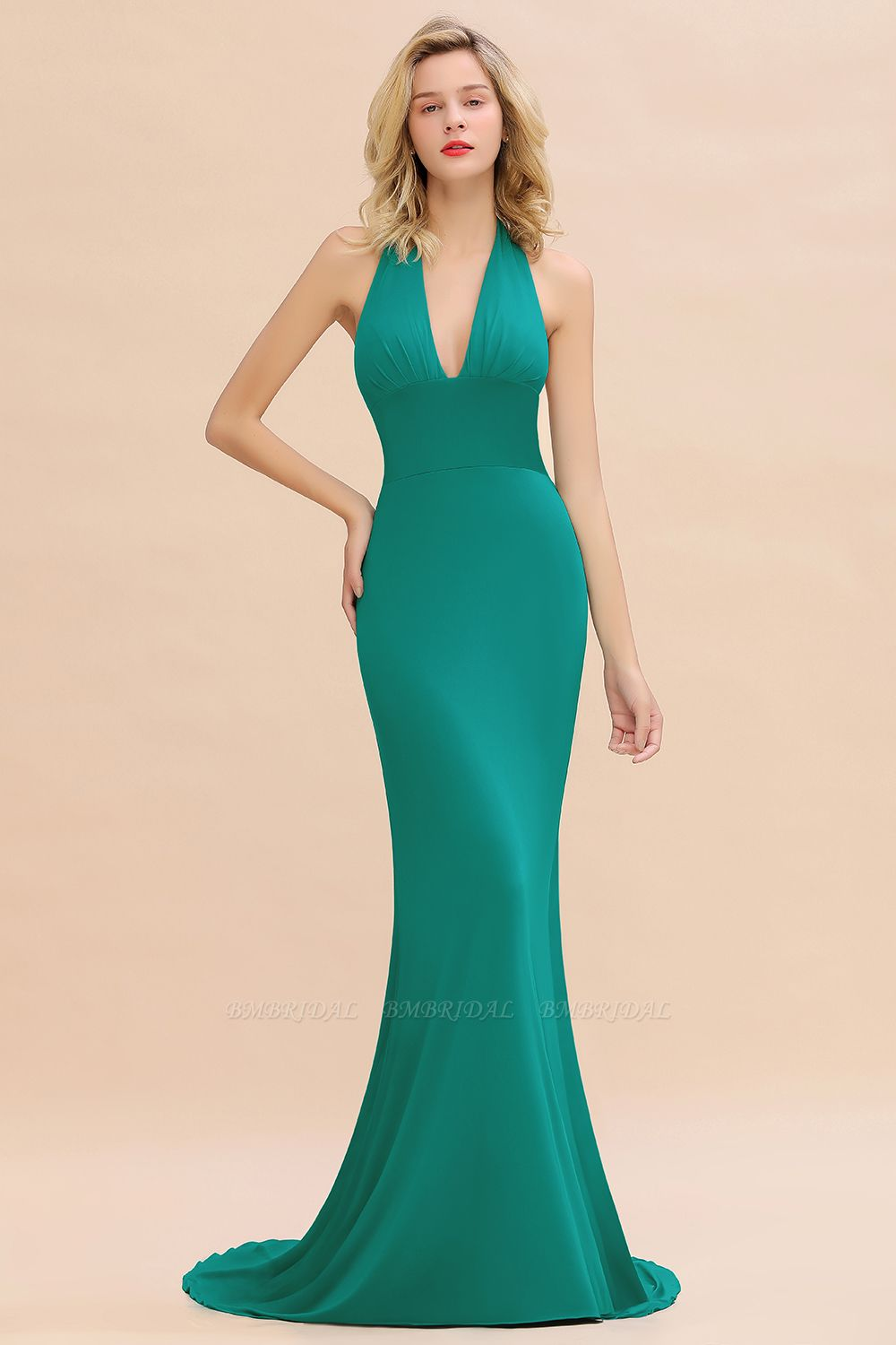 BMbridal Mermaid Halter V-Neck Dark Green Chiffon Bridesmaid Dress with Open Back