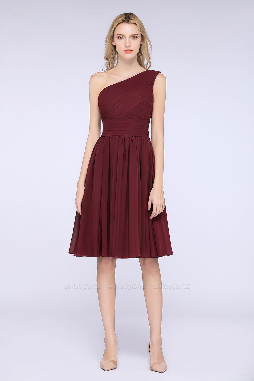 Chiffon One Shoulder Ruffle Short Burgundy Bridesmaid Dresses Online