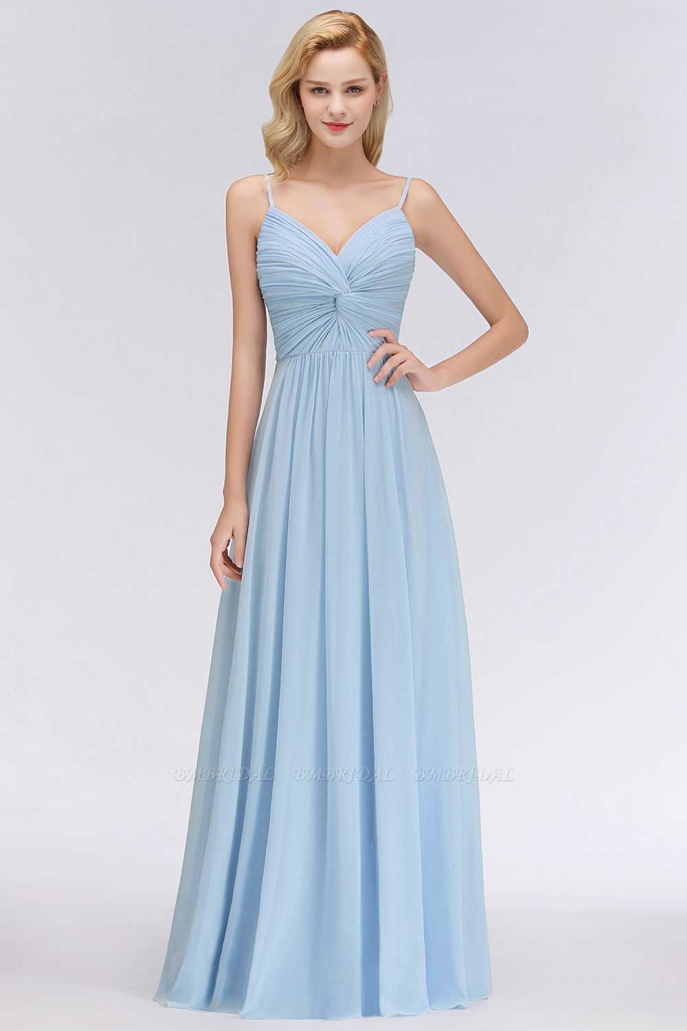 Chic V-Neck Pleated Backless Bridesmaid Dresses with Spaghetti Straps