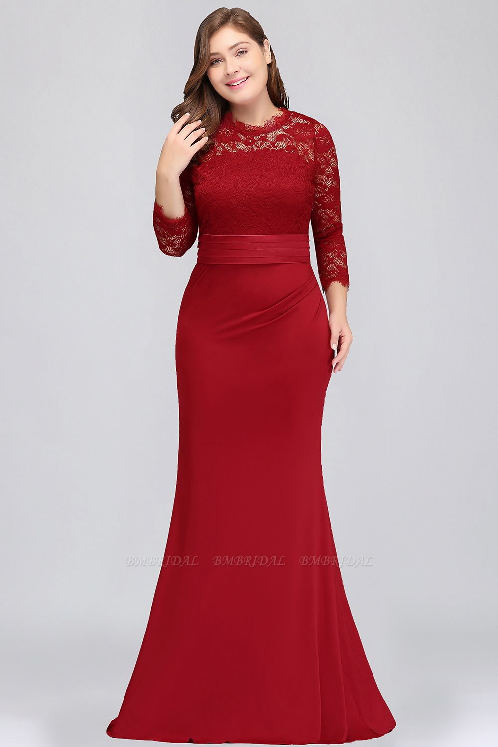 Plus Size Mermaid Long Red Lace Bridesmaid Dresses with 3/4 Sleeves