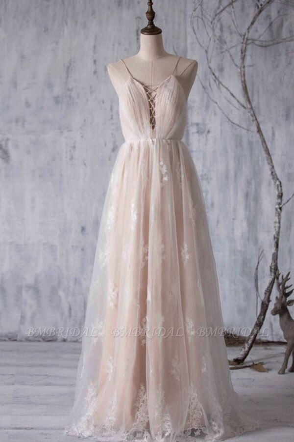 BMbridal Gorgeous A-line Tulle Lace Wedding Dress Spaghetti Straps Ruffles Bridal Gowns Online