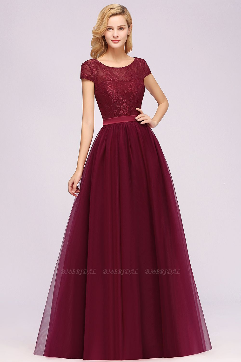Elegant Lace Cap Sleeves Burgundy Bridesmaid Dresses Cheap