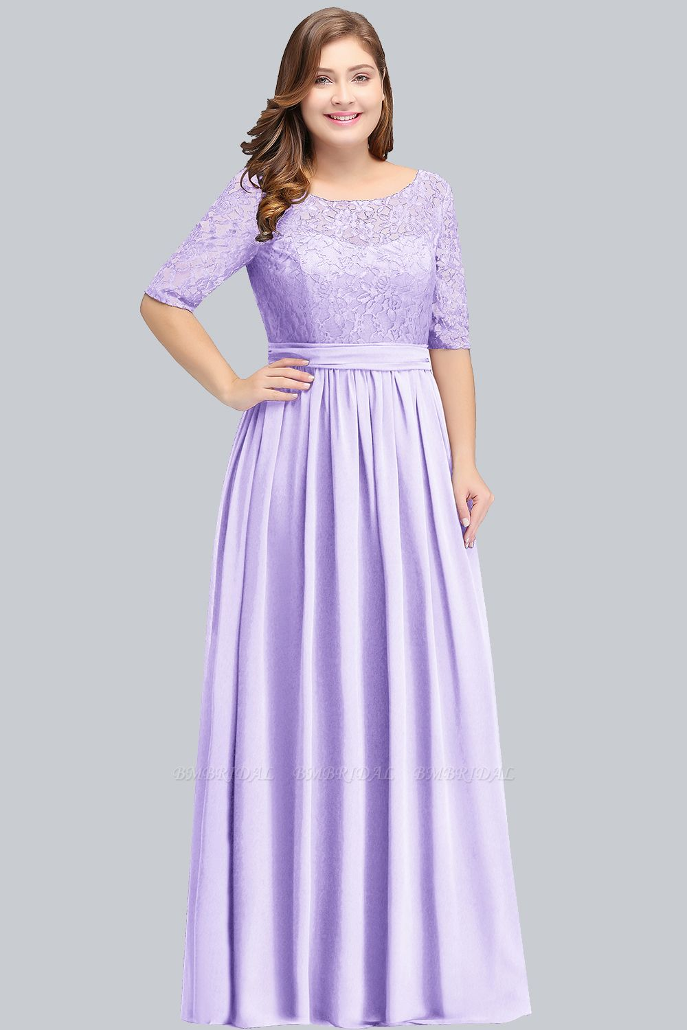 Plus Size Elegant Half-Sleeves Lace Bridesmaid Dresses with Bow